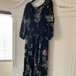 Black with flowers long dress